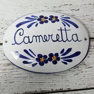 Italian Cameretta Bedroom ceramic door sign